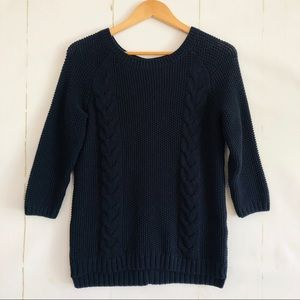 Cynthia Rowly Navy Blue Button Up Back Sweater